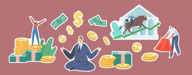 Zestaw naklejek bull market trading theme. postacie z pieniędzmi, biznesmen medytujący nad złotymi monetami i rachunkami. torreador z czerwonym płaszczem w dłoniach drażni byka. ilustracja wektorowa kreskówka ludzie