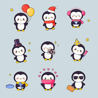 Zestaw naklejek clipart cute penguin kawaii. biały czarny ptak z twarzą anime różne projekty emotikonów dla doodle. zestaw ikon prezentowych różnych zwierząt komiksowych dla dzieci.
