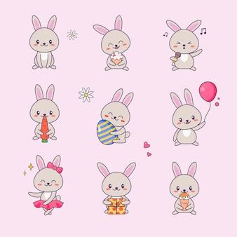 Zestaw naklejek cute bunny kawaii character. królik z twarzą anime różne rysunki emotikonów dla doodle.