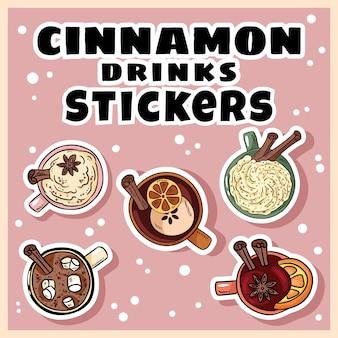 Zestaw naklejek cynamonowych. ręcznie rysowane kreskówka słodkie grzane wino i cynamonowe napoje cynamonowe