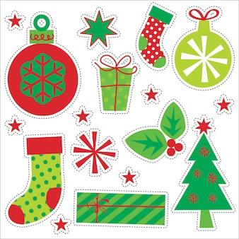 Zestaw naklejek dekoracji świątecznych