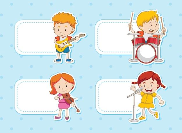 Zestaw Naklejek Dla Dzieci Grających Muzykę Premium Wektorów