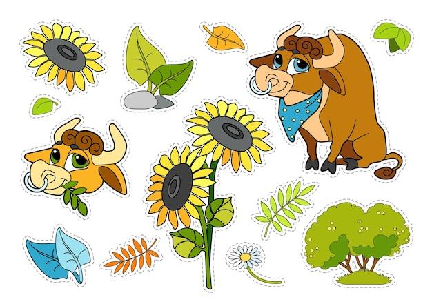 Zestaw naklejek dla dzieci z wesołym bykiem, roślinami i kwiatami na białym tle.