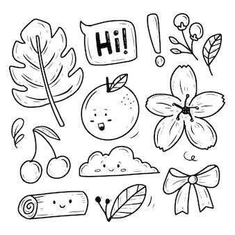 Zestaw naklejek do zbioru kwiatów i kwiatów natury