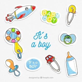 Zestaw naklejek dziecka z zabawkami i ubraniami