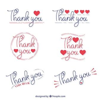 Zestaw naklejek dziękuję napisane ręcznie