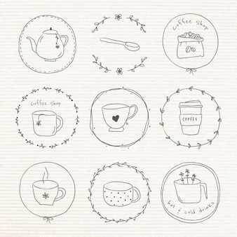 Zestaw Naklejek Dziennika Słodkie Kawy Doodle Doodle Darmowych Wektorów