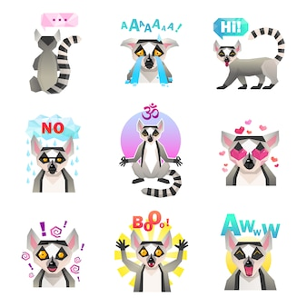 Zestaw naklejek emoji lemur