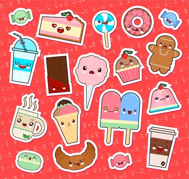 Zestaw naklejek emotikonów słodkie kawaii żywności. babeczka, lody, pączki, słodycze, rogaliki itp.