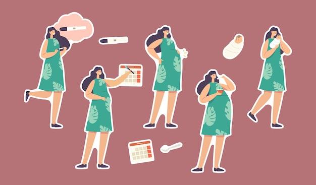 Zestaw naklejek etapy ciąży, tematyczne macierzyństwa. postać kobieca z pozytywnym testem, data kalendarzowa, rosnący brzuch, kobieta jedzenie i noszenie noworodka na rękach. ilustracja wektorowa kreskówka ludzie