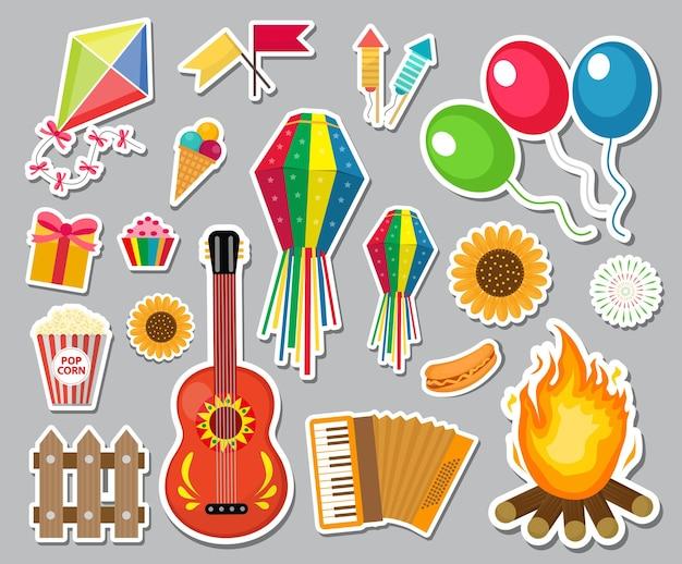 Zestaw naklejek festa junina. brazylijski festiwal latynoamerykański