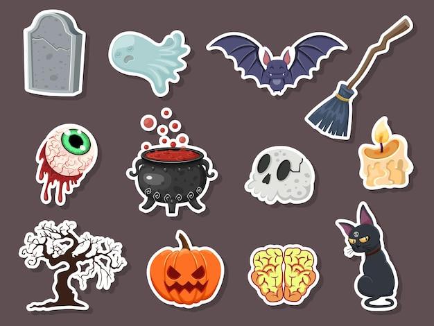 Zestaw naklejek halloween ikona. dynia, duch, mózg, nietoperz, czaszka, nagrobek, drzewo, świeca, miotła, gałka oczna, kot, kocioł czarownic. ilustracja wektorowa