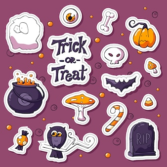 Zestaw naklejek happy halloween kreskówek. elementy projektu etykiety z napisem