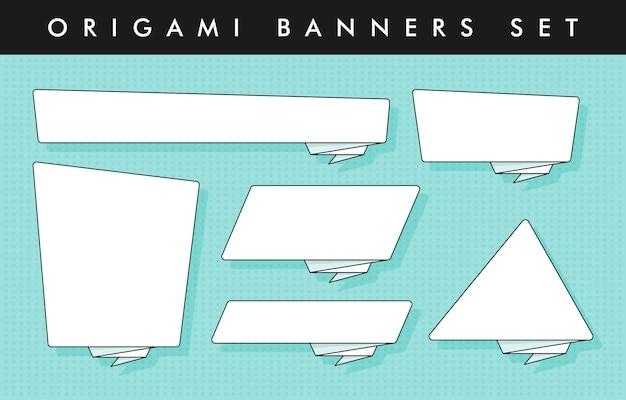 Zestaw naklejek i banerów w stylu origami