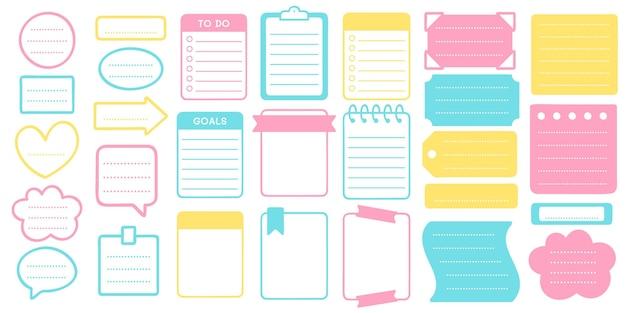 Zestaw naklejek i ramek planner. szablon do planowania naklejek, ramka na zestaw notatników, notatnik ilustracyjny i wektor organizator