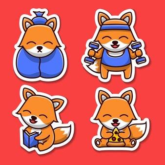 Zestaw naklejek ilustracja kreskówka ładny lis