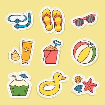 Zestaw naklejek ilustracji wektorowych letnich przedmiotów na żółtym tle