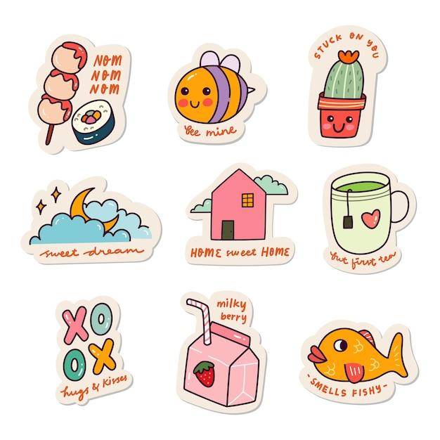 Zestaw naklejek kawaii doodle set fashion patch design collection