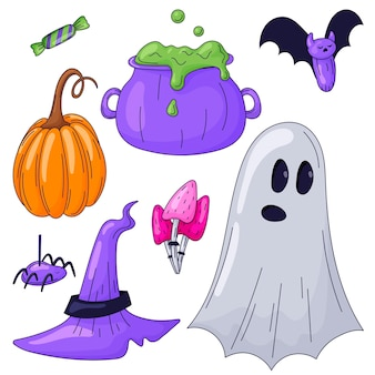 Zestaw naklejek konspektu wektor na białym tle halloween. jasny obraz kreskówkowy przedstawiający ducha, akcesoria wiedźmy, dynię i pająka.