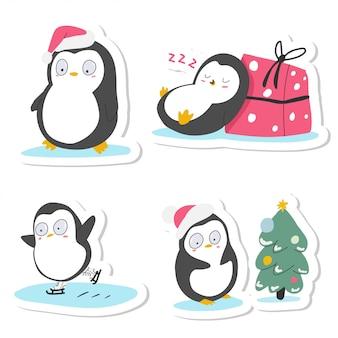 Zestaw naklejek kreskówka słodkie pingwiny świąteczne na białym tle na białym tle.