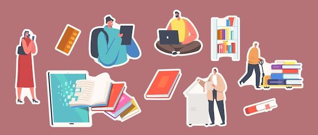 Zestaw naklejek książek digitalizacji. postacie bibliotekarza skanujące strony, konwertujące informacje do wersji cyfrowej na komputerze, malutcy ludzie z ogromnymi książkami w bibliotece. ilustracja kreskówka wektor
