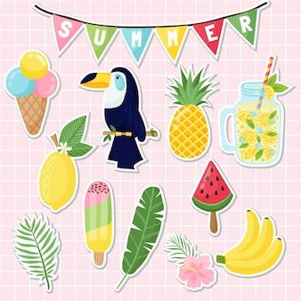 Zestaw naklejek ładny lato. słodkie naklejki z flamingami, kaktusami, liśćmi palmowymi, jedzeniem i piciem. projekt na letnie kartki, plakaty lub zaproszenia na imprezy