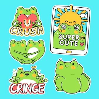 Zestaw naklejek ładny zabawny zielony żaba kolekcja. wektor ręcznie rysowane kreskówka kawaii charakter ilustracja naklejki projekt zestaw. zabawna kreskówka maskotka ropucha żaba dla koncepcji pakietu mediów społecznościowych