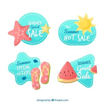 Zestaw naklejek letnich sprzedaży