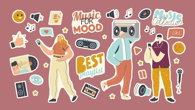 Zestaw naklejek listy odtwarzania dla tematu kolekcji muzyki. ludzie z odtwarzaczem, kciukiem w górę, dyskiem winylowym i cd, dynamiką i gramofonem z taśmą lub mikrofonem i uśmiechniętymi emotikonami. ilustracja kreskówka wektor