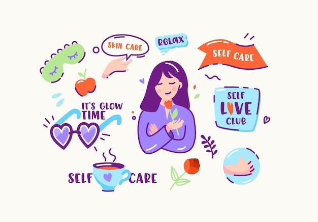 Zestaw naklejek lub ikon w doodle linear style skin care, relax, self care i self love club, to glow time. zrelaksowana dziewczyna z kwiatem, okularami przeciwsłonecznymi w kształcie serca i filiżanką herbaty. ilustracja kreskówka wektor