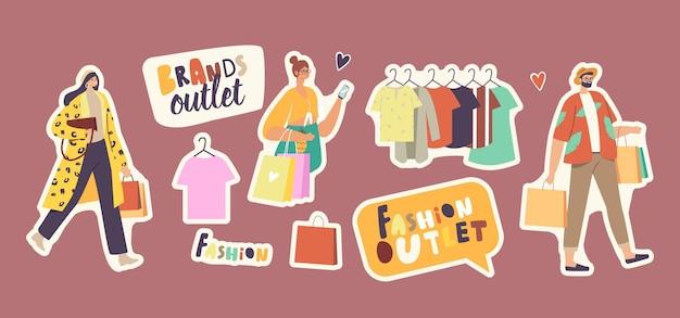 Zestaw naklejek ludzie w fashion brands outlet. postacie z torbami na zakupy, ubrania na wieszakach, sezonowe wyprzedaże, rabaty, zakupoholiczki kupujące markowe ubrania w butiku. ilustracja kreskówka wektor