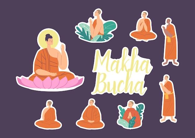 Zestaw naklejek makha bucha holiday. budda siedzący w kwiecie lotosu, buddyjscy mnisi w pomarańczowych szatach modlący się