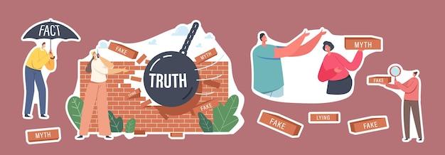 Zestaw naklejek mity i fakty, dokładność informacji. postać pod parasolem, piłka burząca ścianę fałszywych wiadomości. zaufanie i uczciwe źródło danych kontra fikcja. ilustracja wektorowa kreskówka ludzie