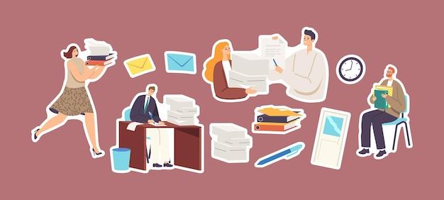 Zestaw naklejek motyw biurokracji. sekretarka kobieta niesie stertę dokumentów. postacie dokumentacja, artykuły biurowe, koperty, długopis i goście czekają na wizytę. ilustracja wektorowa kreskówka ludzie