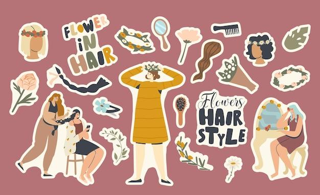 Zestaw naklejek motyw fryzury kwiaty. kobieta w wianku, loki i grzebieniu z bukietem kwiatów i lusterkiem ze spinką. sezon letni fryzura, warkocz i dziewczyny w salonie. ilustracja kreskówka wektor