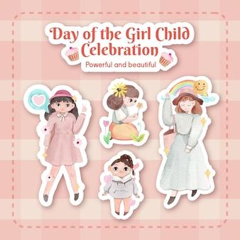 Zestaw naklejek na międzynarodowy dzień dziewczynki w stylu akwareli