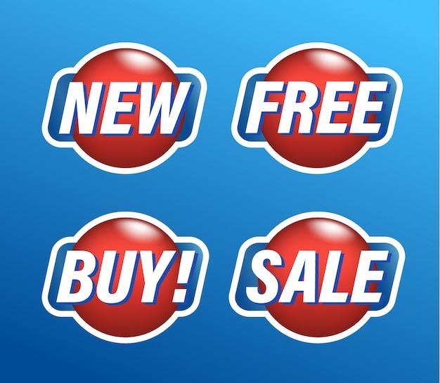 Zestaw naklejek na zakupy, okrągłe czerwone znaczniki z tekstem nowy, bezpłatny, zakup, sprzedaż, ilustracja.