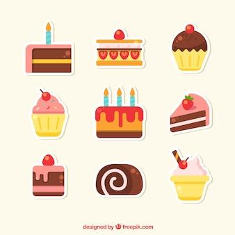 Zestaw naklejek piekarni ze słodyczami