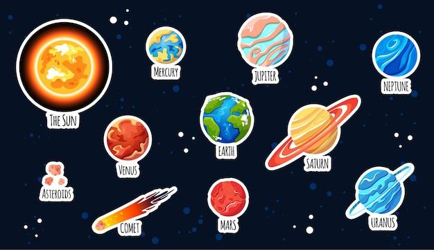 Zestaw naklejek planety. kreskówka układ słoneczny.