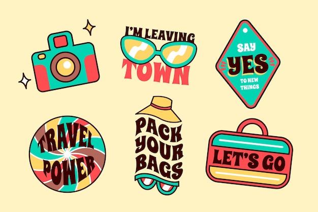 Zestaw naklejek podróżnych w stylu lat 70