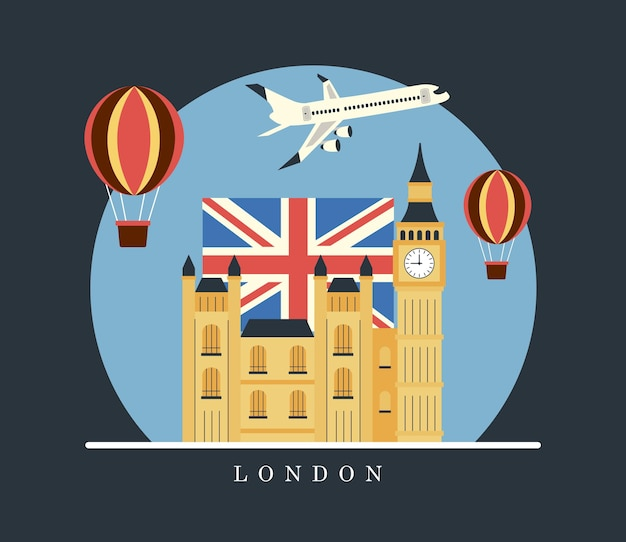 Zestaw naklejek podróży po londynie