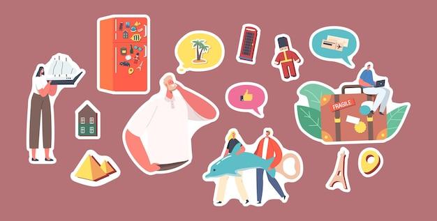 Zestaw naklejek postacie zbieraj pamiątkowe magnesy po odwiedzeniu krajów, założone na drzwi lodówki. ludzie oszczędzają pamięć z wakacyjnej podróży po odwiedzeniu zabytków świata. ilustracja kreskówka wektor