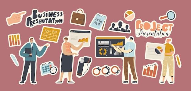 Zestaw naklejek prezentacja projektu biznesowego. biznesmeni, lupa, teczka, tablica scrum i wykresy analizy danych, artykuły biurowe, notatnik i zegar lub ręka. ilustracja kreskówka wektor