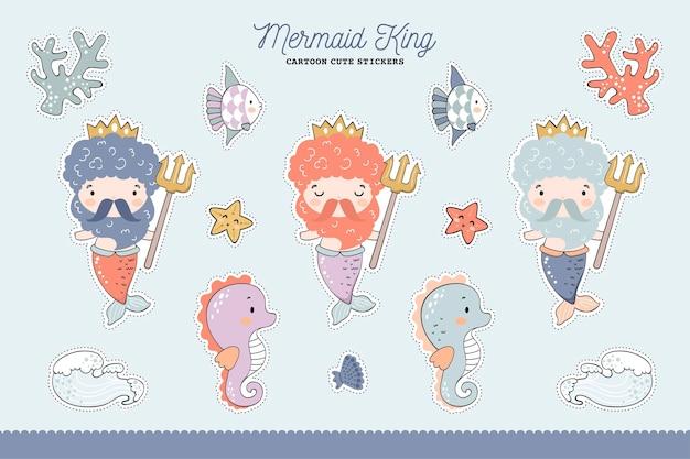 Zestaw naklejek przedstawiający króla syren i morskie zwierzęta. zwierzęta morskie postaci z kreskówek
