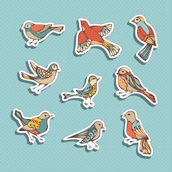 Zestaw naklejek ptaków