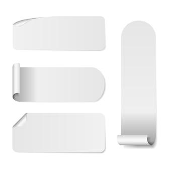 Zestaw naklejek puste białej księgi. naklejki okrągłe, kwadratowe i prostokątne.