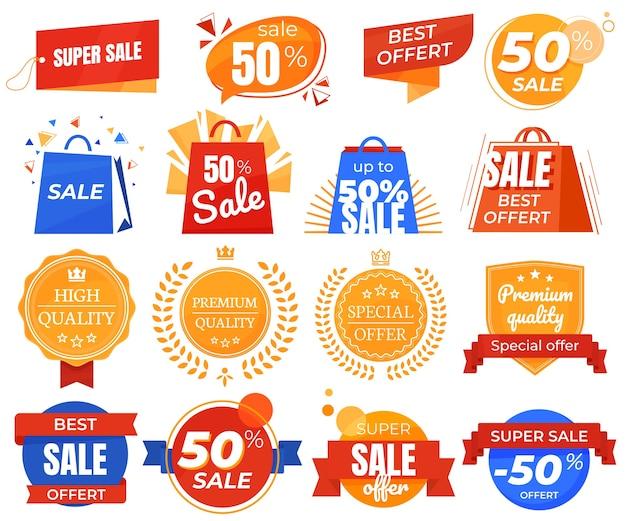 Zestaw naklejek rabatowych, promocje, najlepsze oferty. ilustracje do ofert reklamowych.