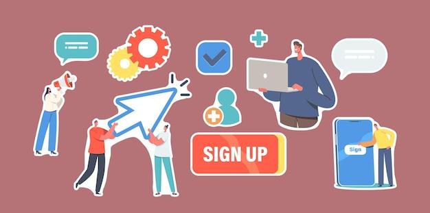 Zestaw naklejek rejestracja i rejestracja online nowego użytkownika. małe postacie rejestrują się lub logują do konta na ogromnym smartfonie. bezpieczne hasło, aplikacja mobilna, dostęp do sieci. ilustracja wektorowa kreskówka ludzie