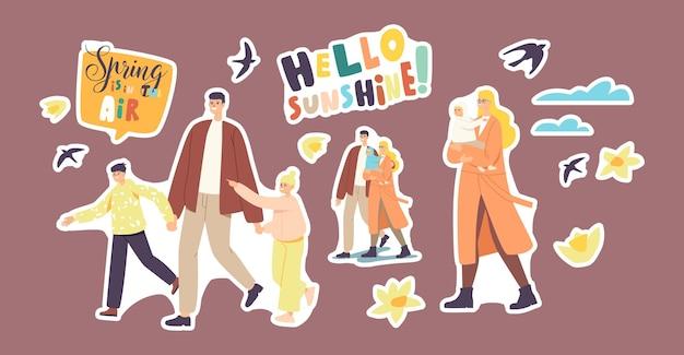 Zestaw naklejek rodziców z postaciami dzieci chodzić na wiosnę. ojciec trzymający się za ręce dzieci, matka z dzieckiem spędzać czas razem, jaskółki, kwiaty i chmury. ilustracja wektorowa kreskówka ludzie
