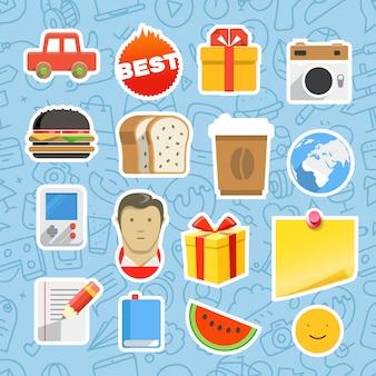 Zestaw naklejek różnych aplikacji mobilnych lub internetowych